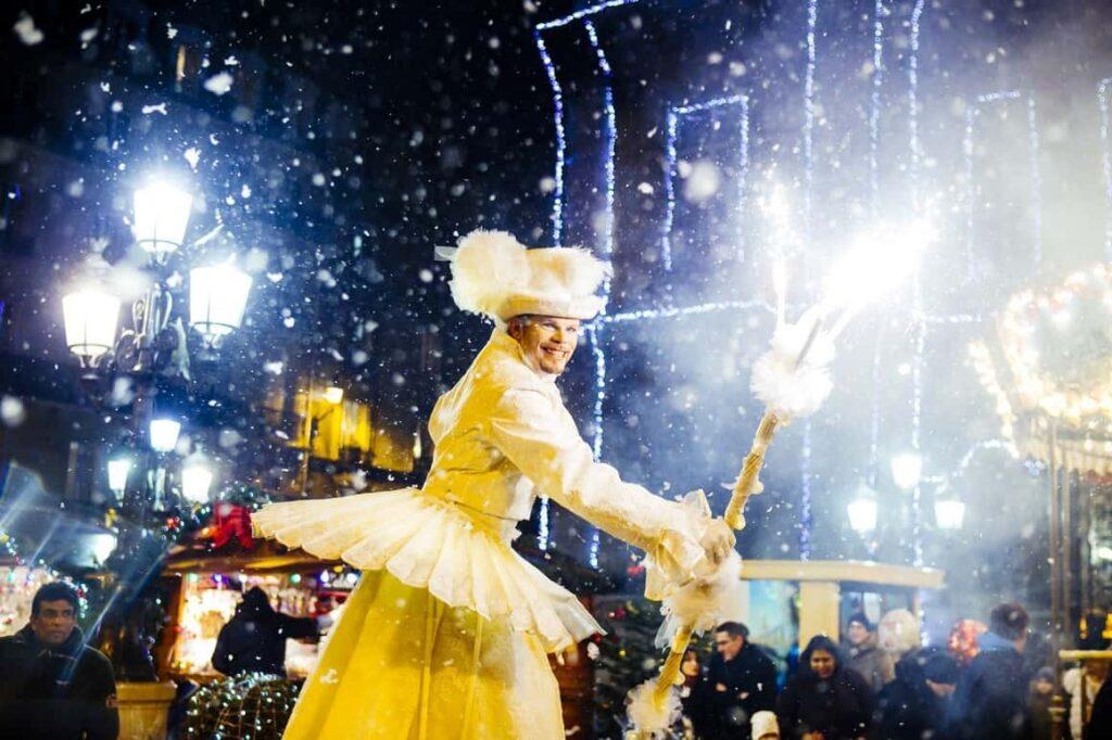 Bespoke Illuminated Christmas Stilt Walker Performer at a Christmas Event in the UK.