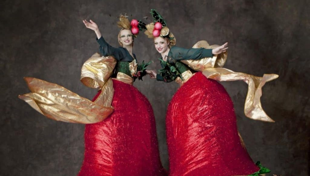 The Christmas Bells are a group of unique Christmas Stilt Walkers