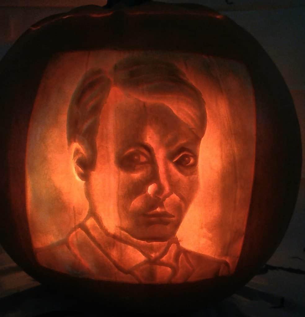 Pumpkin portrait created by our talented Halloween pumpkin carver.