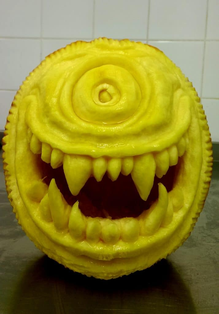 Monsters INC, Mike Wazowski character carved into a pumpkin by our talented pumpkin carver.