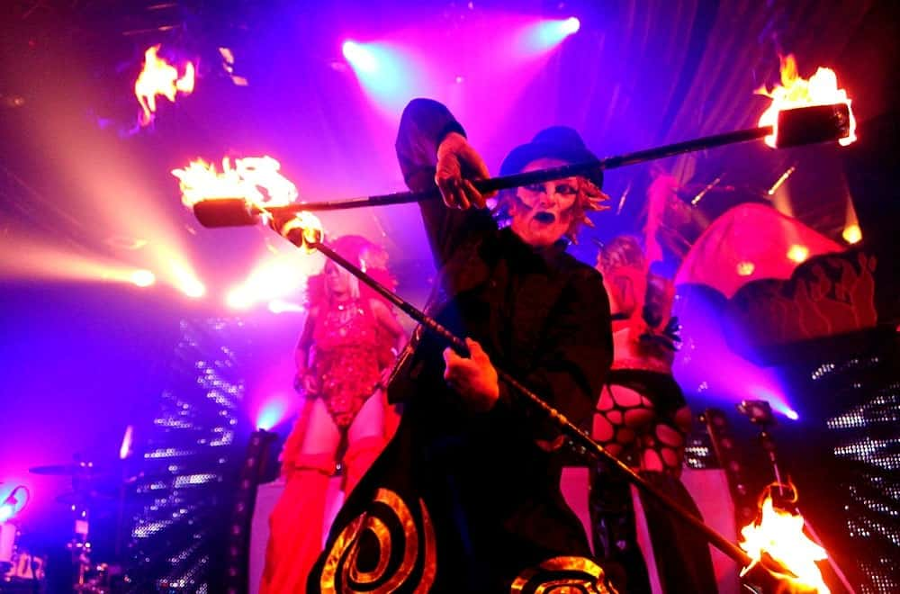 Angle grinder performers for hire. Book our fire show for Halloween-themed events in London & the UK.