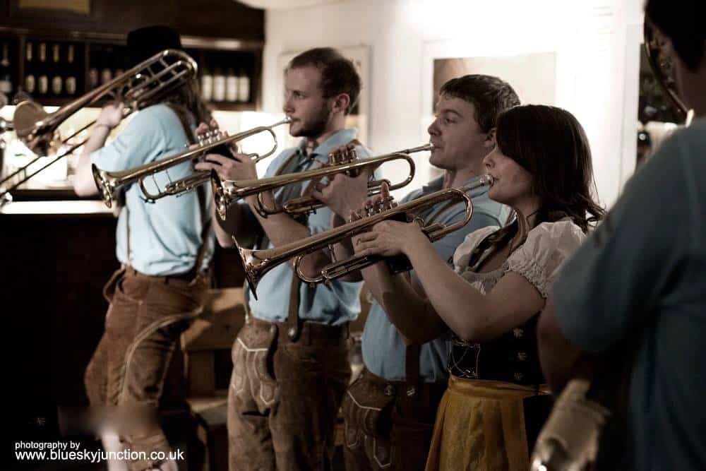 Hire our Bavarian-style brass musicians for German-themed events in the UK.