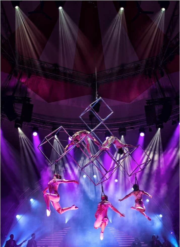 The Bewitching Cubes for hire. Our aerial acrobatics show is available to book for Chinese New Year events, award ceremonies or gala dinners in the UK & China.