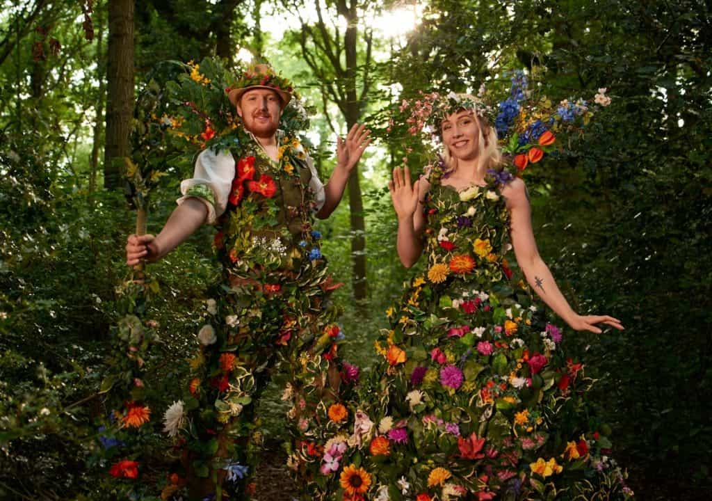 The Blossoms for hire. Our floral stilt walkers are available to book for corporate events, family fun days or private events in London & the UK.
