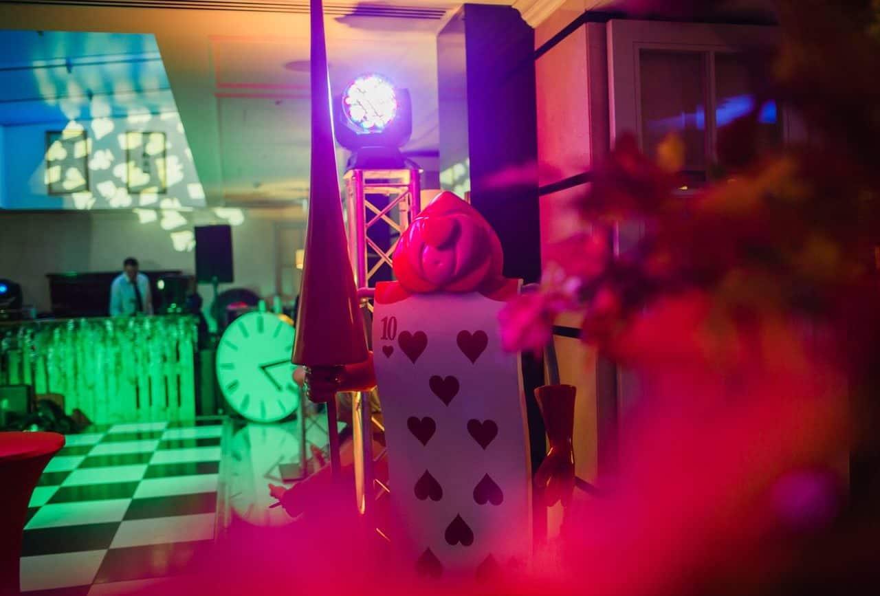 Alice in Wonderland props we used to transform the Conrad Hotel venue in London.