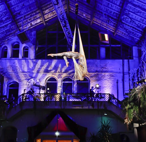 Aerial acrobat for hire. Book our Aerial Net Performer for corporate events in London & the UK.