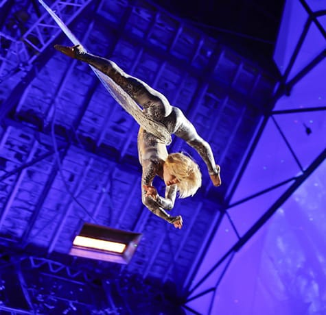 Aerial performer for hire. Our Aerial Net Act is available to book for gala dinners in the UK & London.