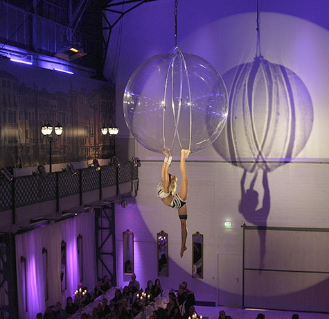 Aerial Bubble Act for hire. Our aerial acrobat show is available to book for brand activations, corporate events or gala dinners in London & the UK.
