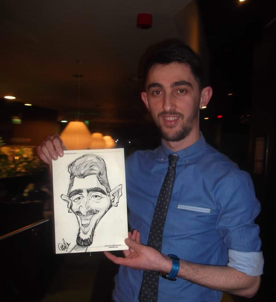 Caricature artists for hire. Our caricature artist is available to hire for exhibitions in the UK & London.