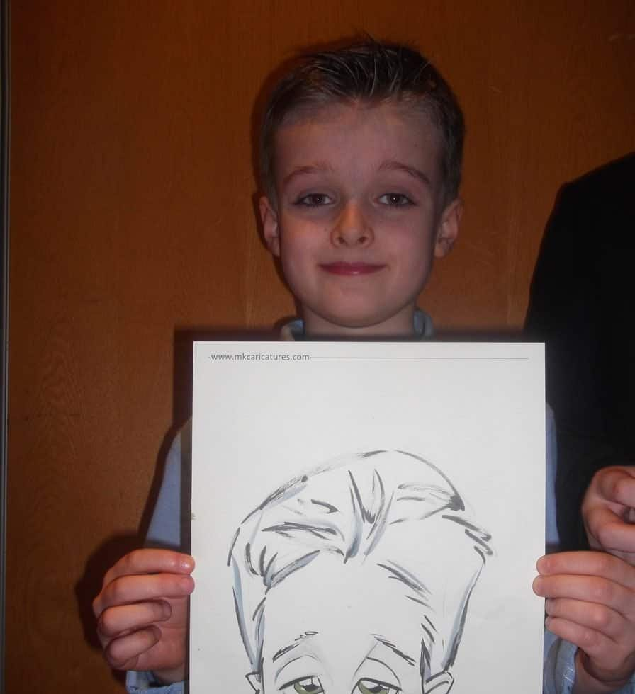 Exhibition entertainment for hire. Our caricaturist is available to hire for corporate functions in the UK & London.