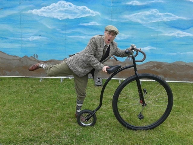 Comedy cyclist walkabout act for hire. Our comedy Gentlemen Cyclists are available to book for family fun days in the UK & London.