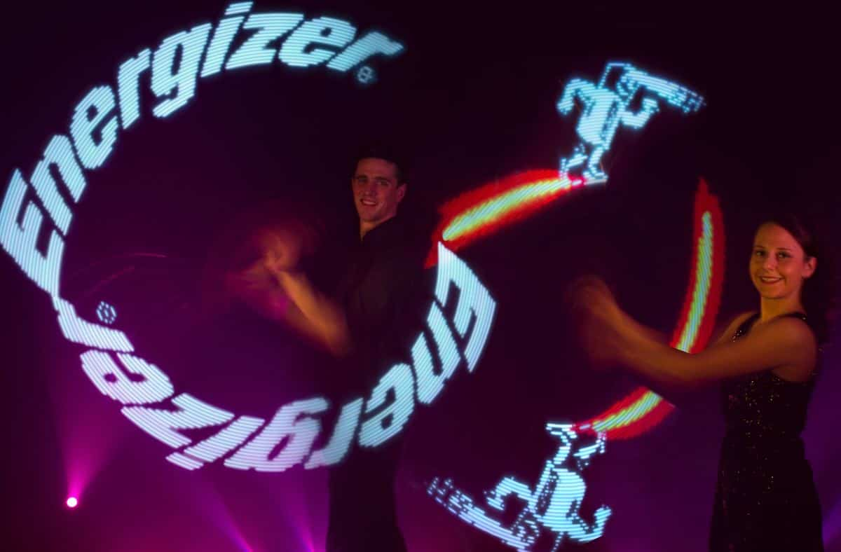 LED juggling dance show for hire. Book our LED Poi Jugglers for product launches in the UK & London.