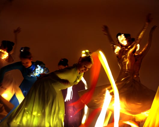 LED Ribbon Dancers for hire London and the UK.