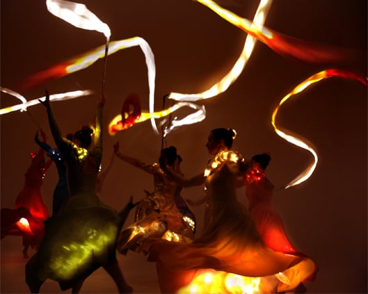 LED Ribbon and flag dancers for corporate and luxury event hire in London and the UK