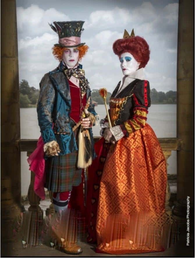 Alice in Wonderland lookalike characters for hire. Book The Red Queen & Mad Hatter for movie-themed events in London & the UK.