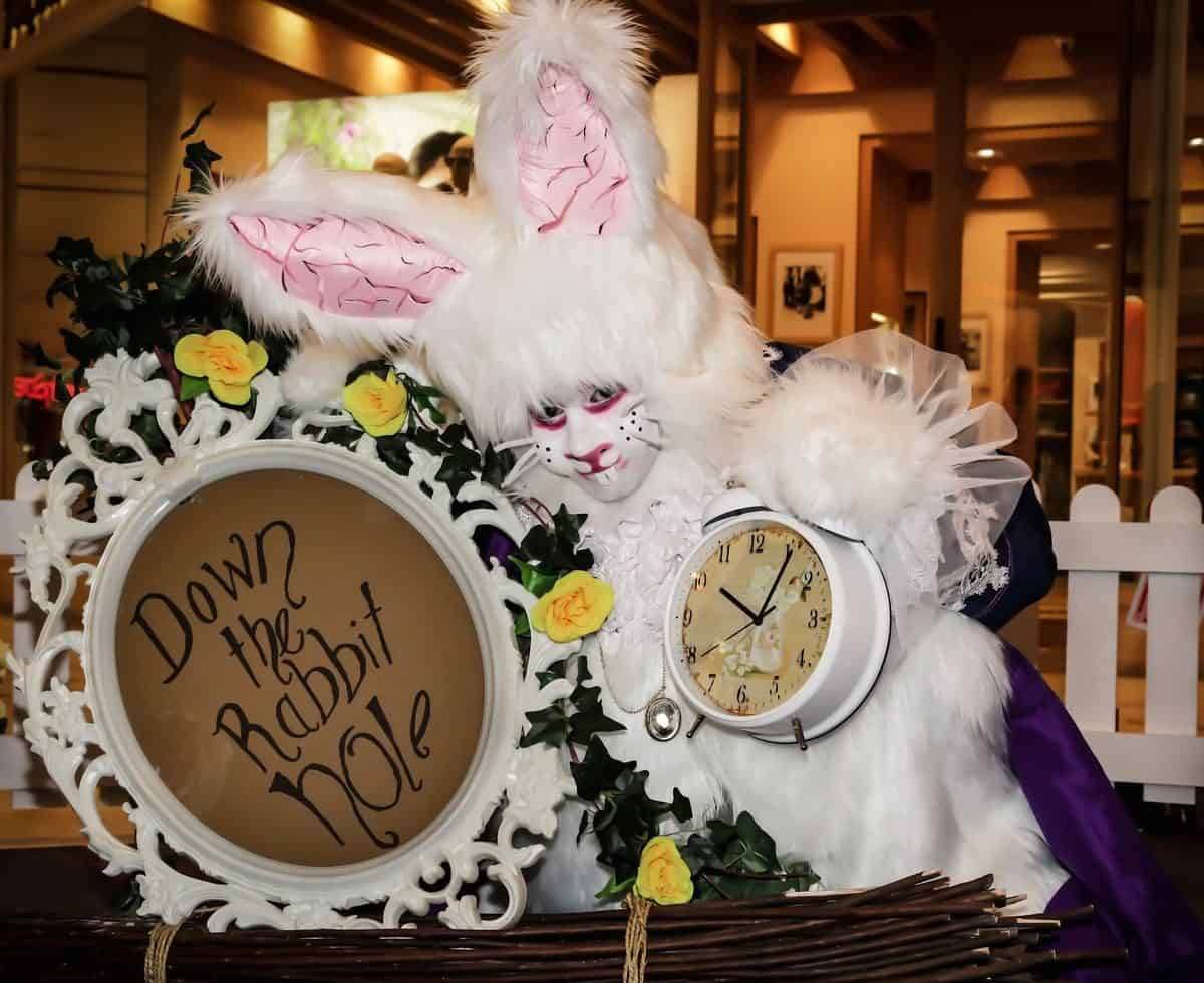 The March Rabbit for hire. Our Alice in Wonderland walkabout rabbit is available to book for Alice in Wonderland-themed events, Easter events or children's events in London & the UK.