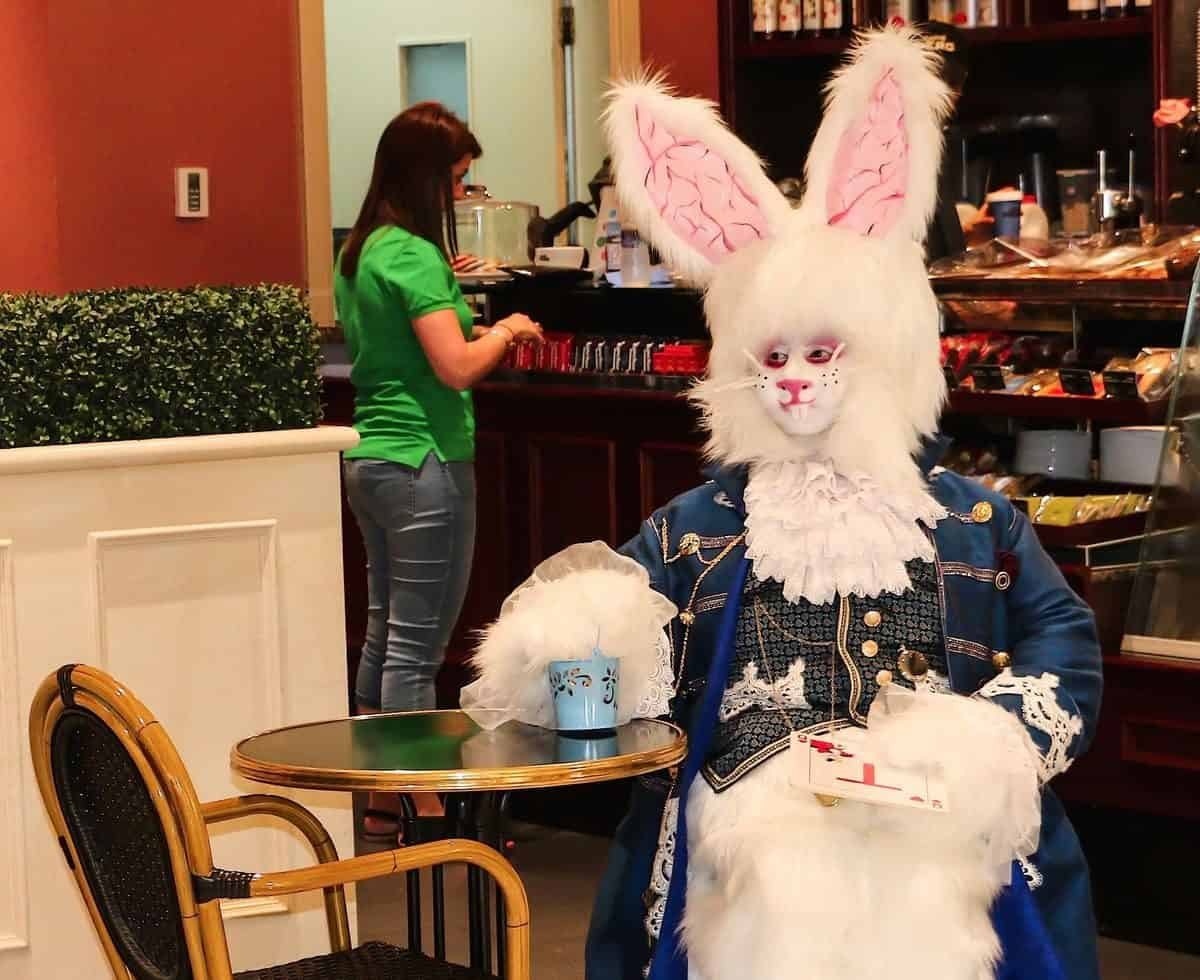 The March Rabbit for hire. Our Easter bunny is available to book for Alice in Wonderland-themed events in London & the UK.