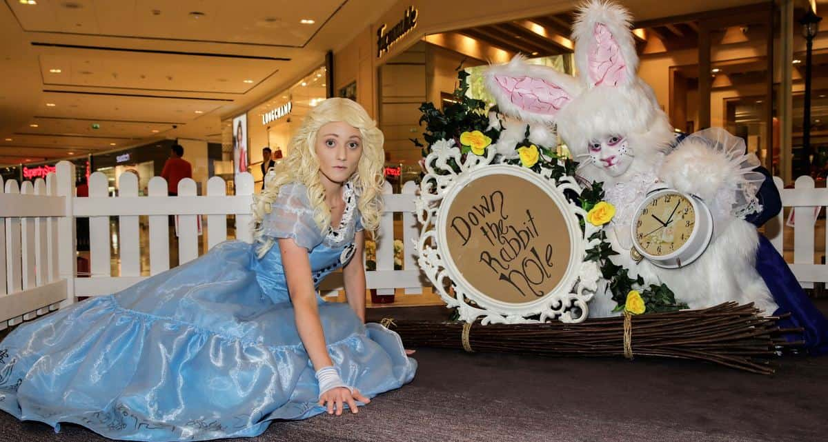 White Easter bunny for hire. Our Alice in Wonderland walkabout character is available to book for movie-themed events in the UK & London.