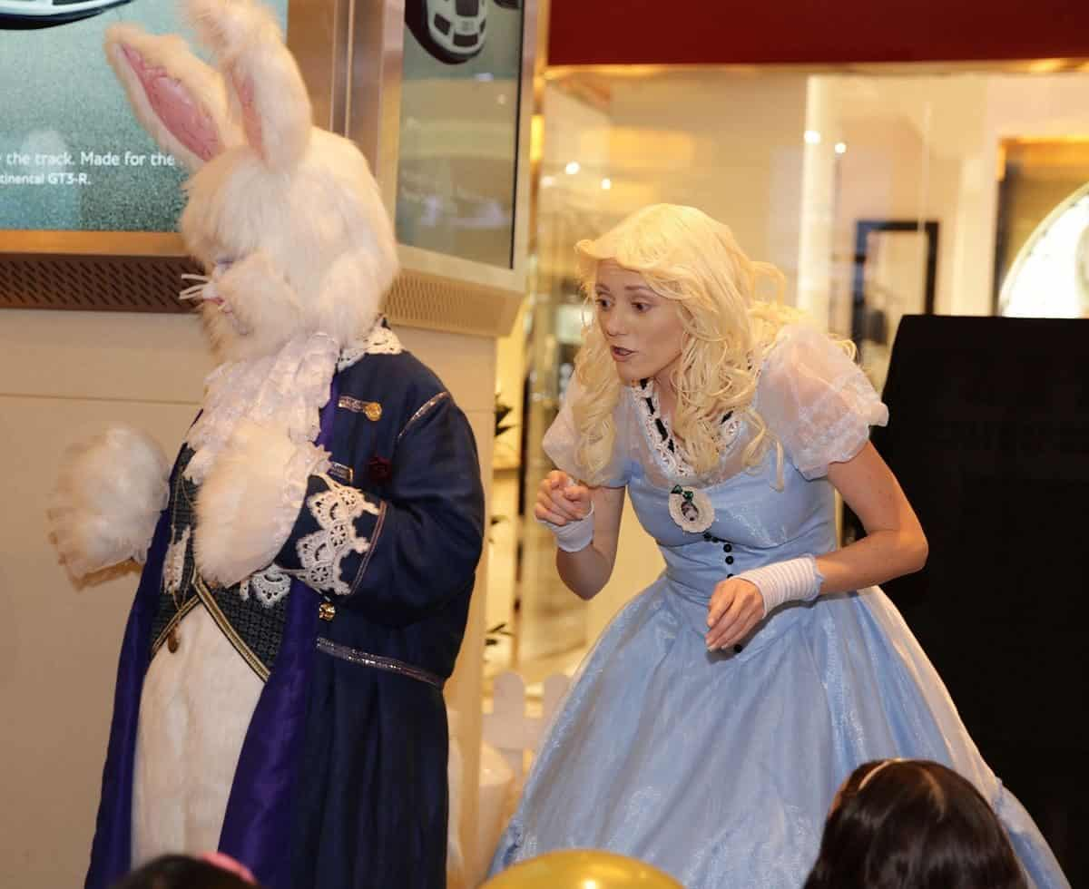 The March Rabbit for hire. Book our Easter bunny for Alice in Wonderland-themed children's events in the UK & London.