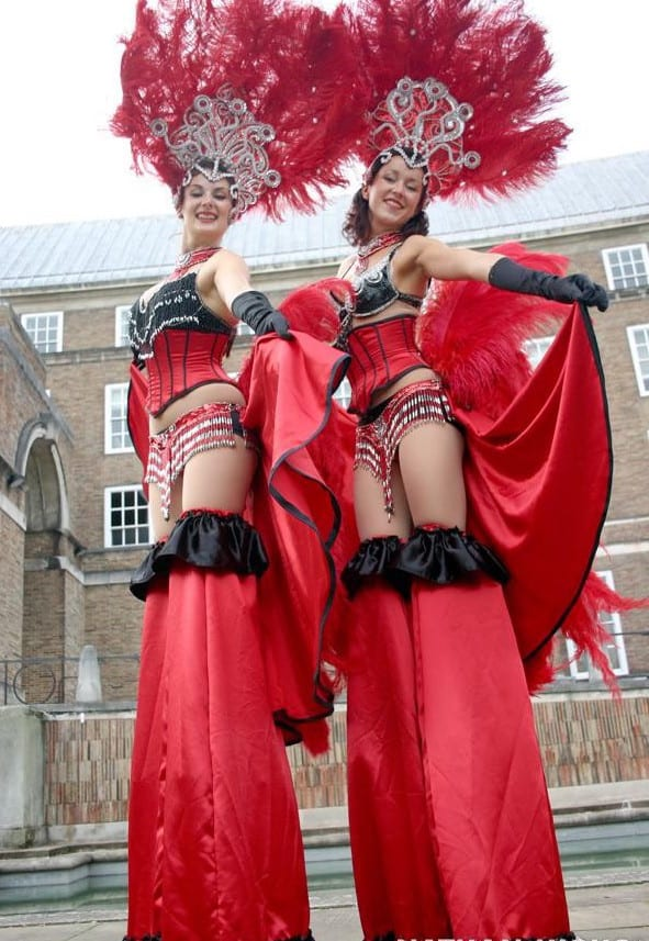 Carnival Themed Stilt Walkers for hire. Our stilt walkers are available to book events in London & the UK.