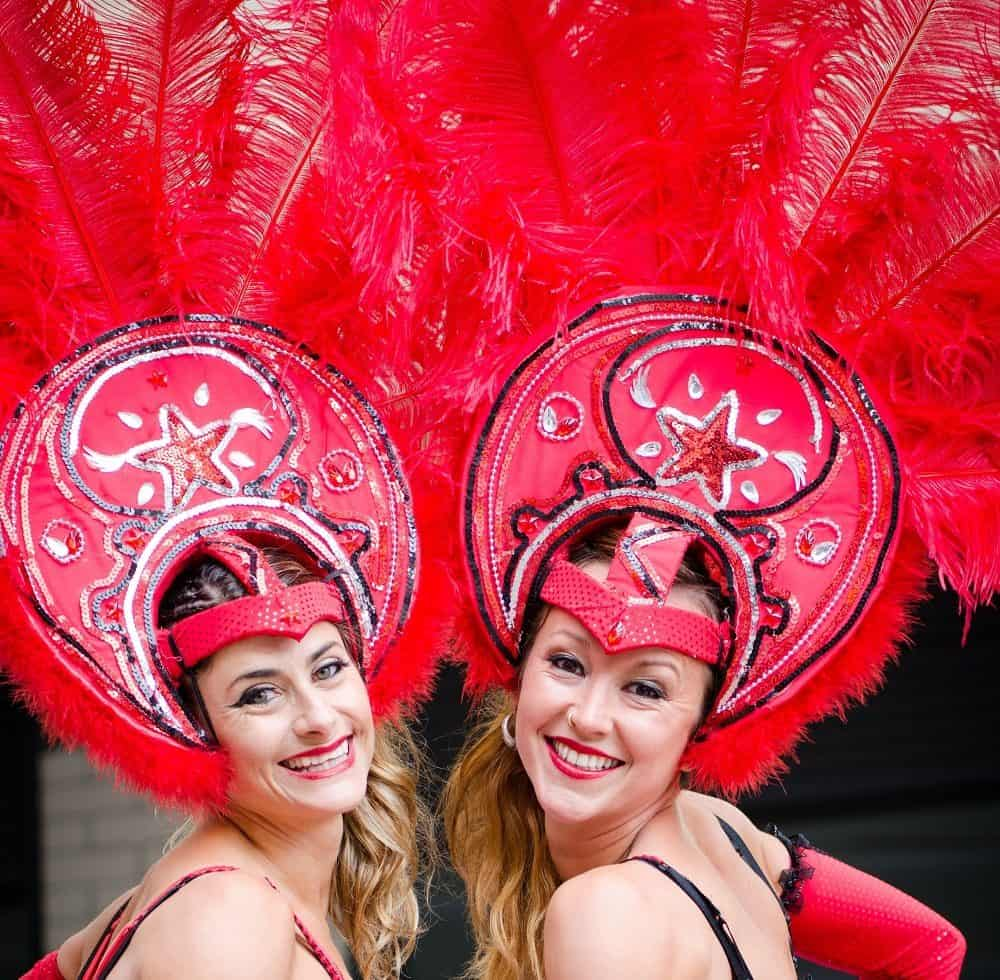 Carnival Stilt Walkers for hire. Our carnival-themed stilt walkers are available to book for shopping centre events, carnivals & Rio-themed events in London & the UK.
