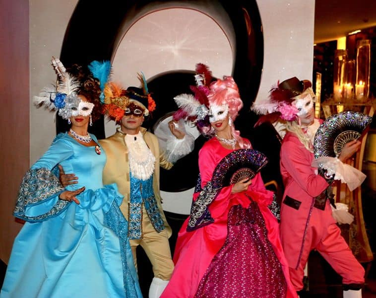 The Renaissance Parade for hire. Book our masquerade-themed walkabout characters for masked balls in the UK & London.