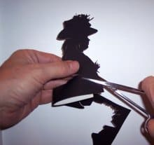 Shadow cutter for hire. Our silhouette artist is available to book for award ceremonies in the UK & London.