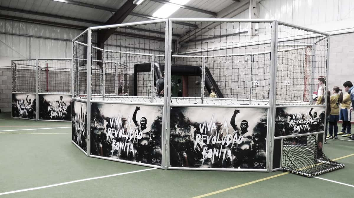 Book our football cage for your event. Our 1 v 1 football can be hired across the UK.