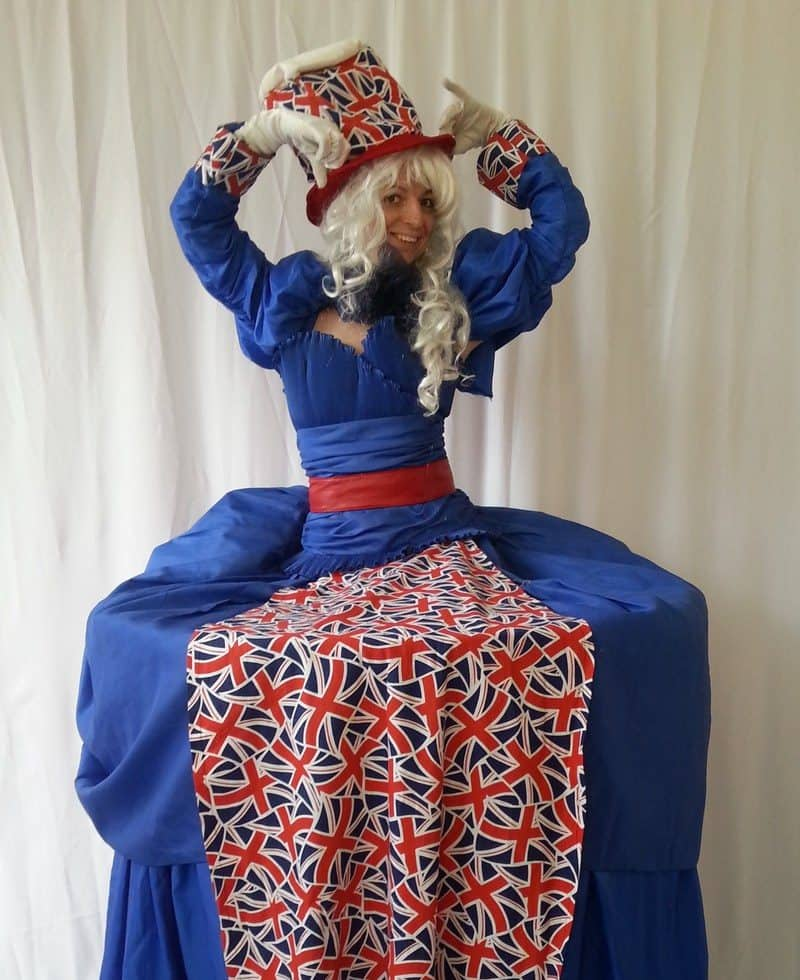 Union Jack themed living/human table for hire. Our British themed entertainment can be hired in London and the UK.