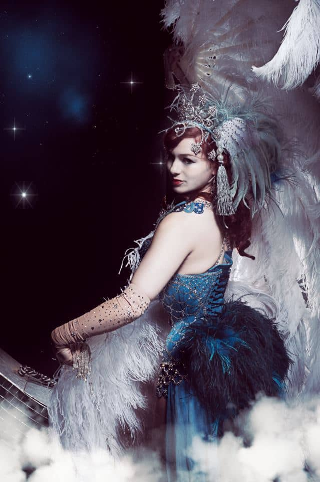 Burlesque Dancer, winter wonderland entertainment ideas. Burlesque dancer available for hire in the UK and London.