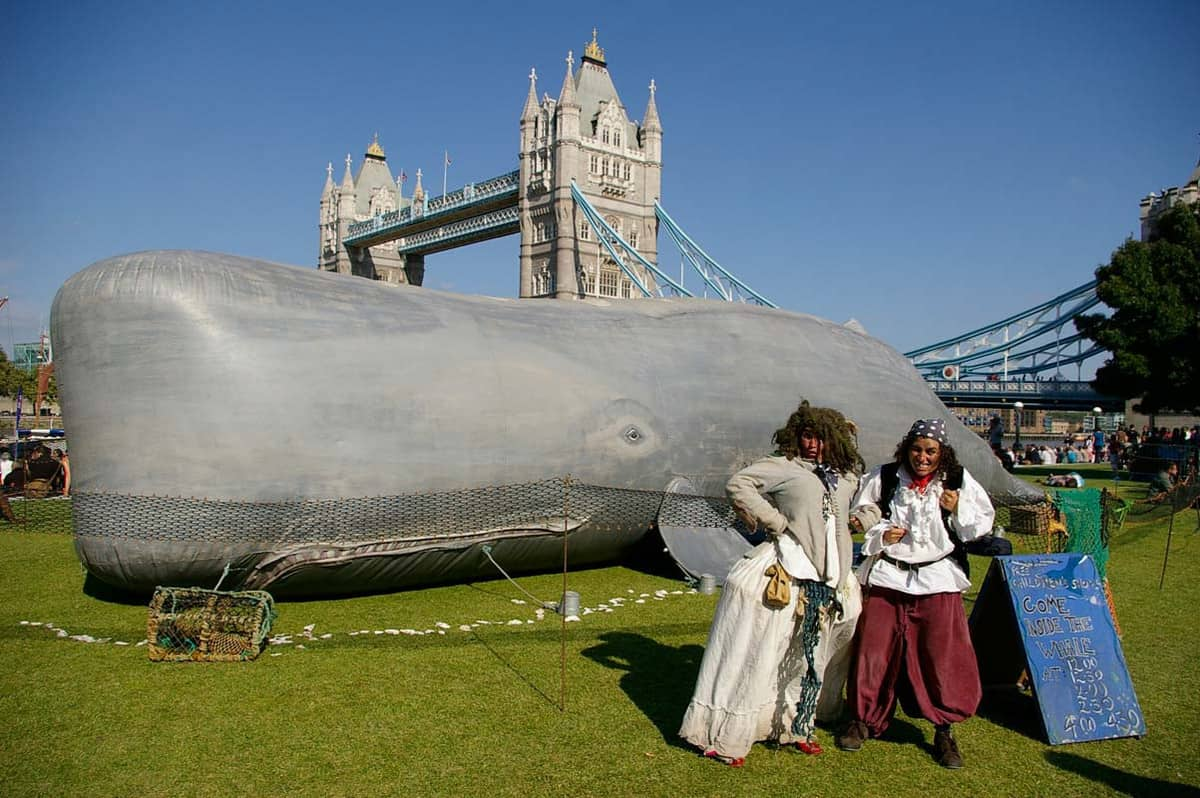 Giant Whale Puppet for hire. Book our educational children's show for shopping centre events in London & the UK.