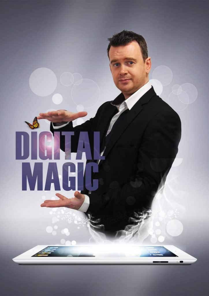 Walkabout digital magician for hire for events in the UK.