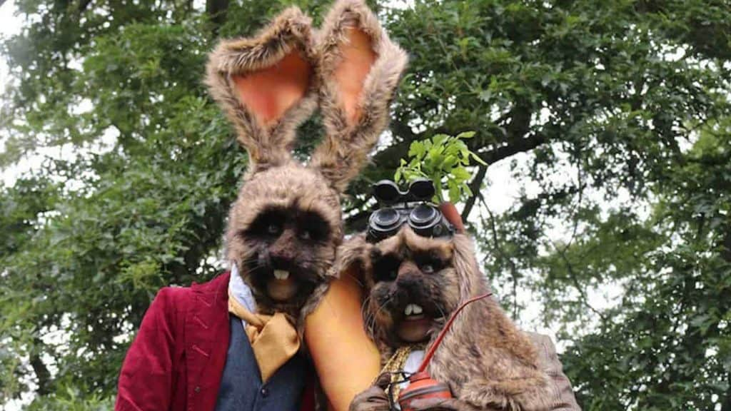 Bouncealot Bunny stilt walker duo available to hire for Easter Events in the UK.