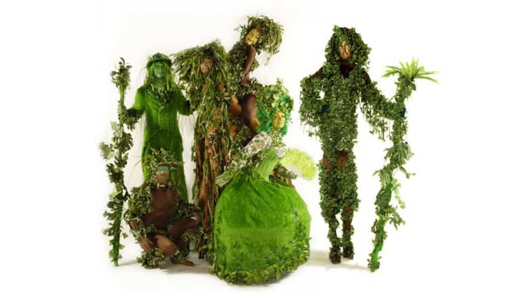 Family Tree Performer group dressed in an assortment of green topiary costumes available to book for Spring and Easter events.