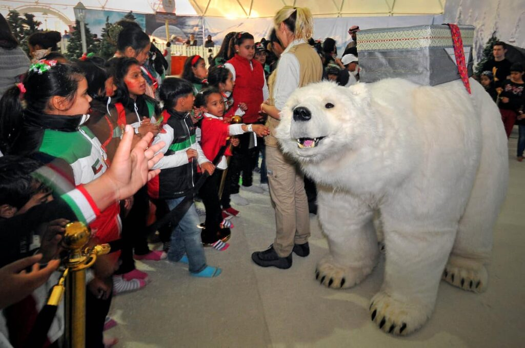 Interactive Polar Bear Show being performed in front of a large audience at a Shopping Centre Event in the UK.