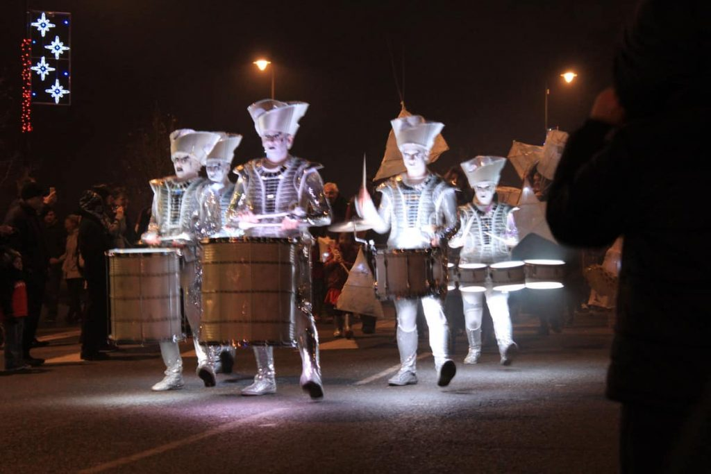 LED Drumming Troupe performing at the Newmarket BID Street Parade for the Christmas Switch on Ceremony.