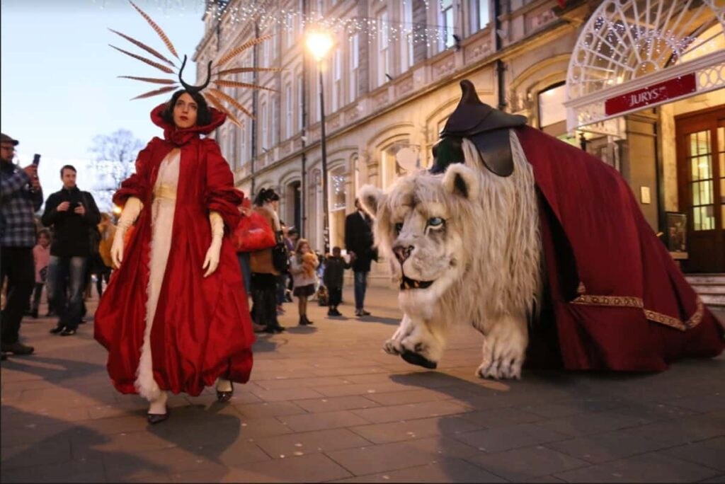 Snow Lion and Winter Queen Christmas Characters at a public Christmas event in the UK.