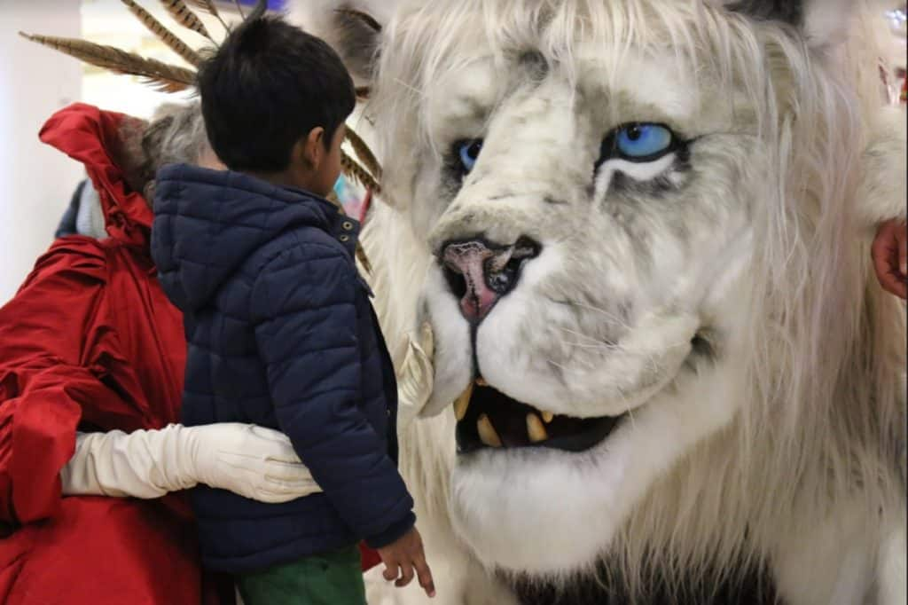 Winter Snow Lion and Winter Queen available to hire for Retail activations and Shopping Centre events in the UK over the Christmas season.