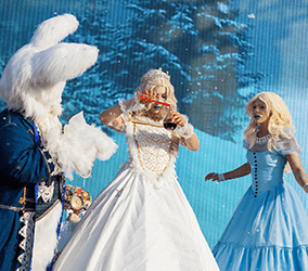 Our winter wonderland show is available to book for Christmas-themed events in London & the UK.