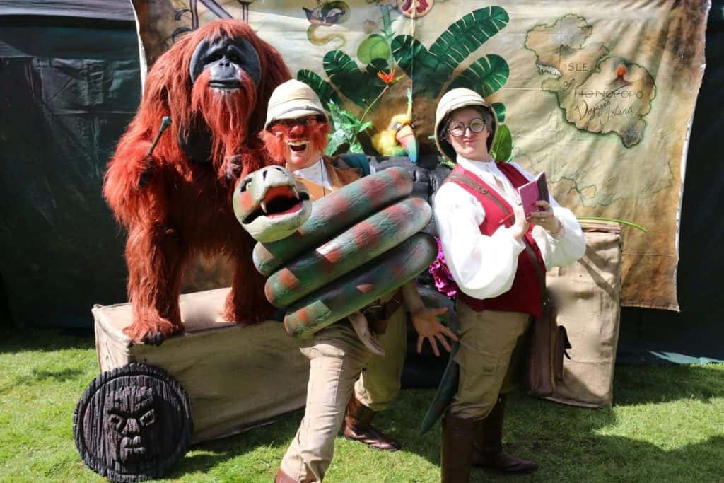 Animondium for hire. Our walkabout animal puppet zoo is available to book for family fun days, summer festivals or corporate events in London & the UK.