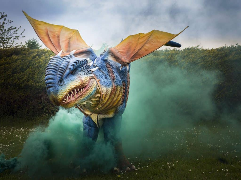 Meet & greet dragon performer available to book for St. George's Day events in Devon.