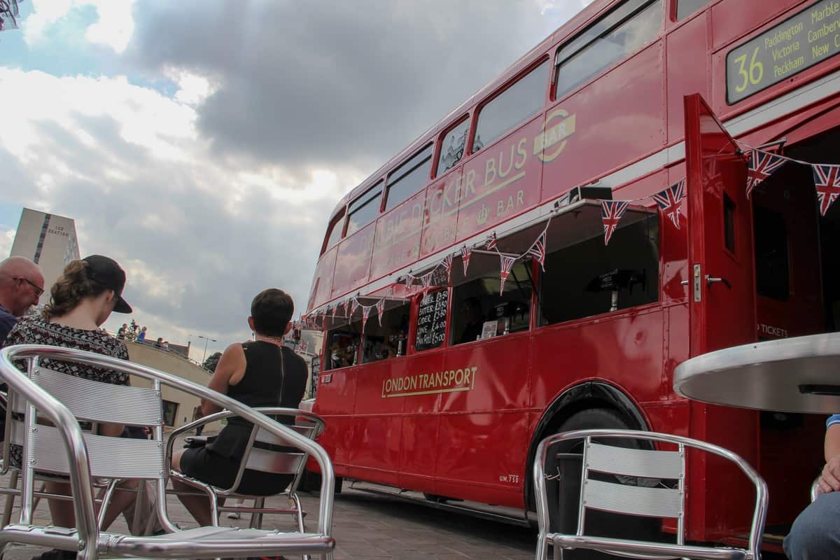 Event furniture for hire. Our Double-Decker Bus Bar is available to hire for corporate events in the UK & London.