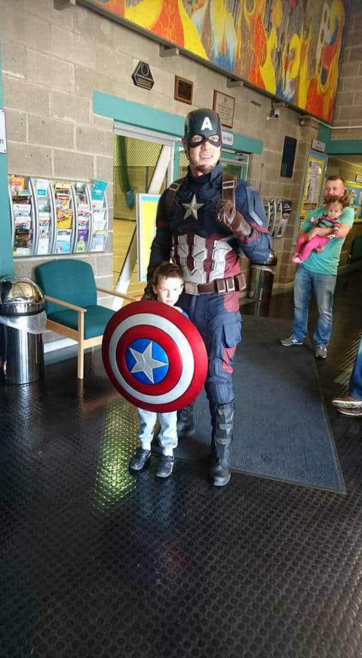 Captain America lookalike available to hire for corporate events in Belfast and the UK.