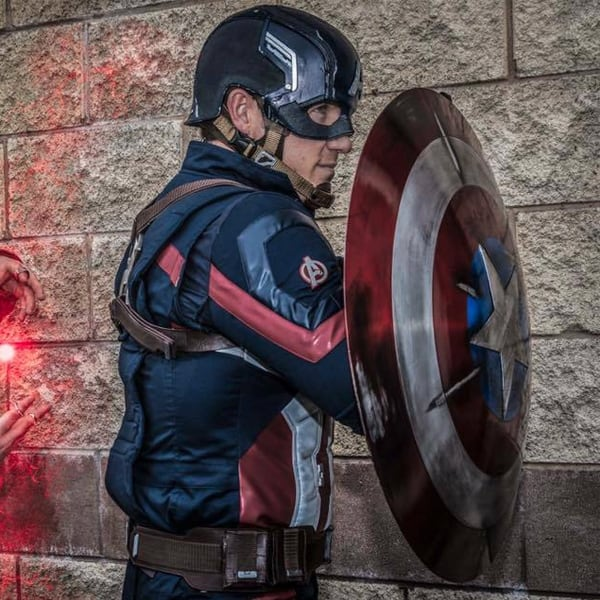 Captain America lookalike for hire. Our Captain America can be hired worldwide.