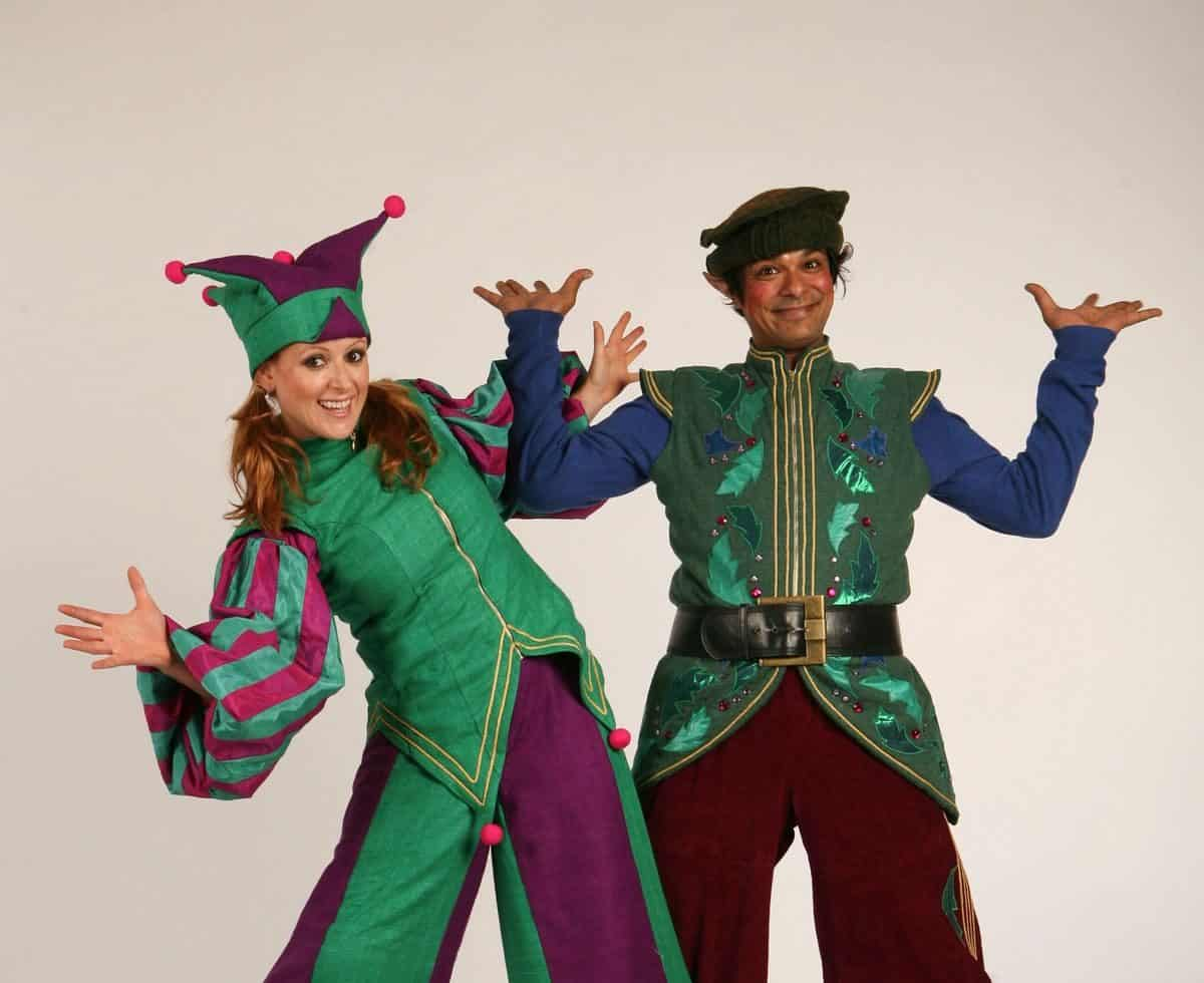 Cheeky Elves for hire. Our Christmas Elves are available to book for Christmas-themed events, Christmas parades or children's events in London & the UK.