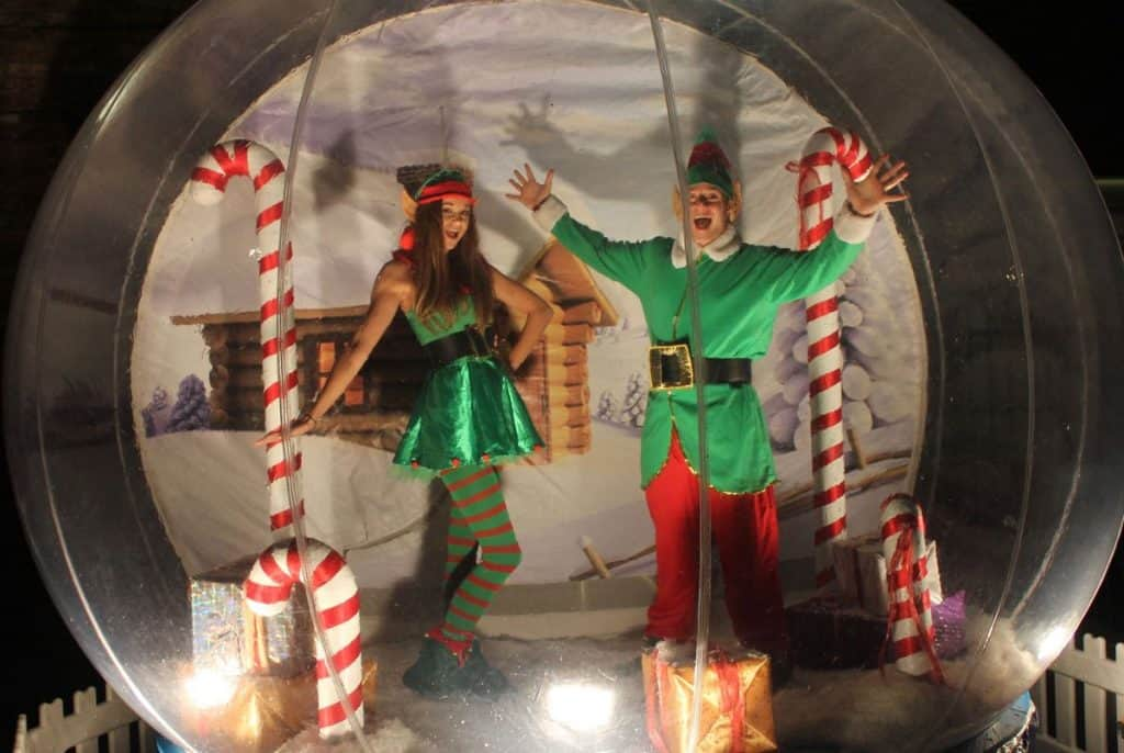 The Christmas Snow Globe for hire. Book our Christmas photo booth for Winter Wonderland events, Christmas-themed events or corporate events in London & the UK.