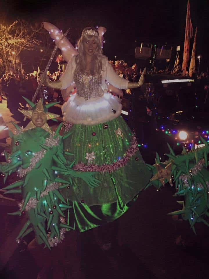 The Christmas Tree Fairy for hire. Our stilt walker is available to book for shopping centre events in the UK.
