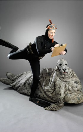 Cow Seal and Marine Biologist walk about entertainers for hire in London and the UK