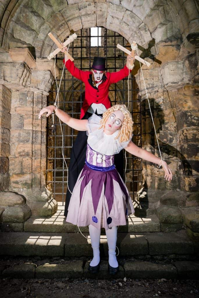 Creepy Ringmaster & Puppet for hire. Our Ringmaster Stilt Walker & Puppet on strings are available to book for Halloween-themed events in London & the UK.