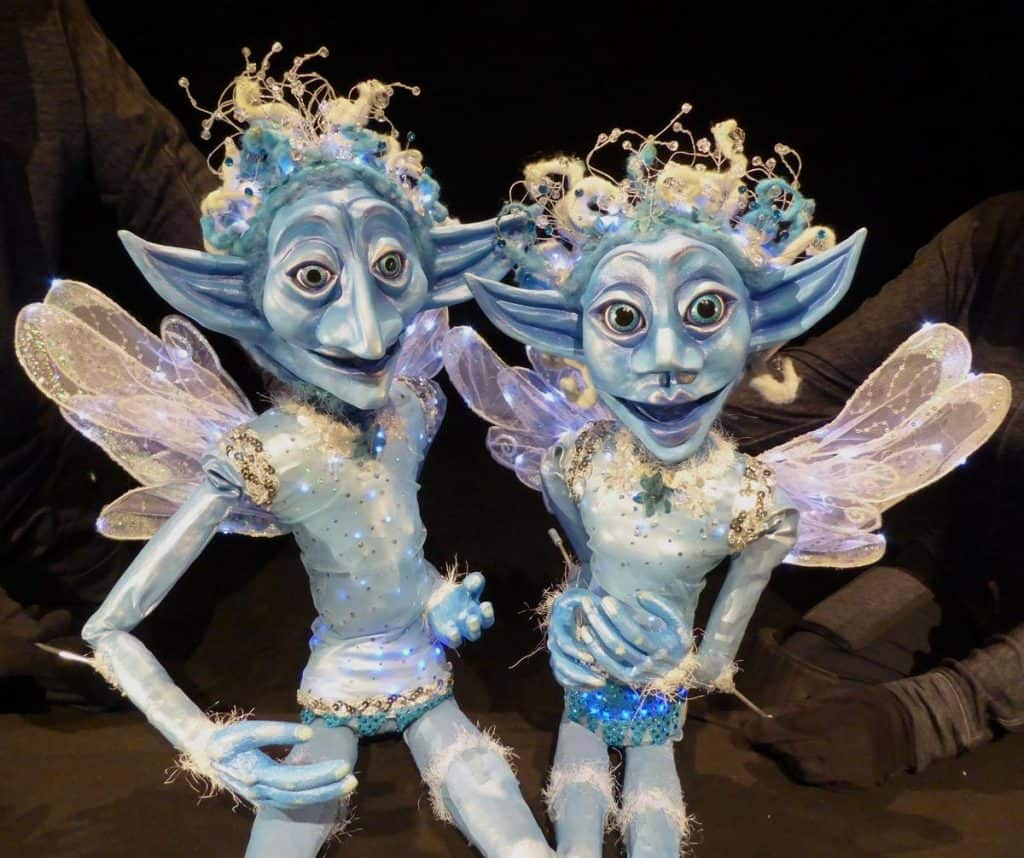 Winter Fairies for hire. Book our Christmas-themed puppets for children's events, shopping centre events, or Christmas-themed events in London & the UK.